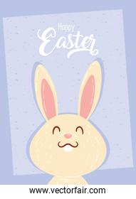 happy easter celebration lettering card with cute rabbit