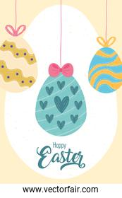 happy easter celebration lettering card with eggs hanging