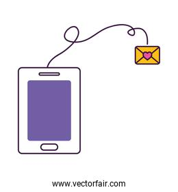 cellphone and love letter envelope, colorful design