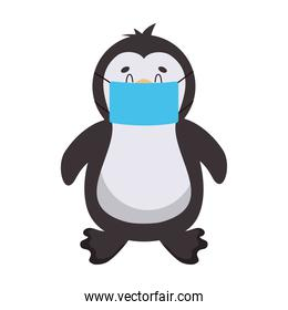 cartoon penguin with mouth mask, colorful design