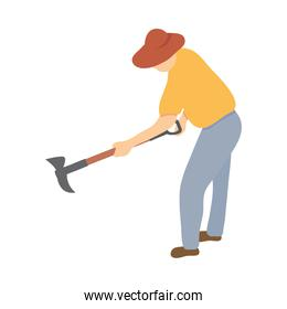 farmer with a ax tool, colorful design