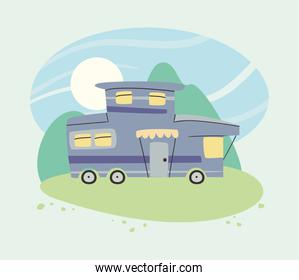 Purple camper trailer in front of mountains vector design