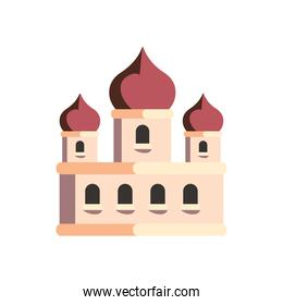 White and red islamic mosque vector design