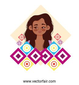 young woman character abstract shapes background