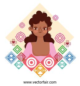 young afro woman abstract shapes background