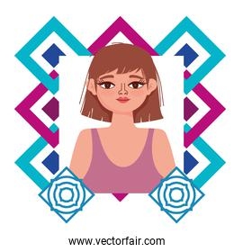 beautiful woman cartoon portrait abstract shapes background