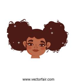 graceful afro girl character on white background