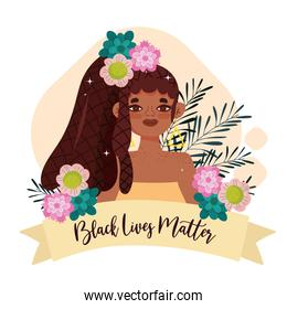 black lives matter, black girl with flowers and banner
