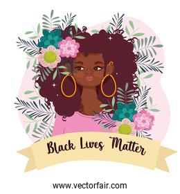 black lives matter, cute afro woman cartoon flowers and