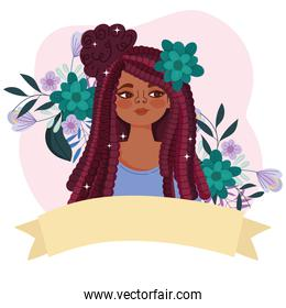 cute afro american girl with hair rasta and flowers