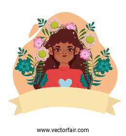 afro american woman young character flowers