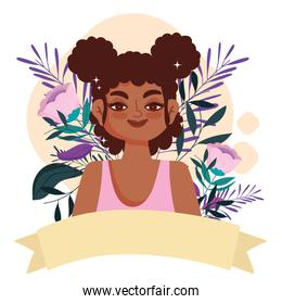 smiling afro american woman character cartoon flowers