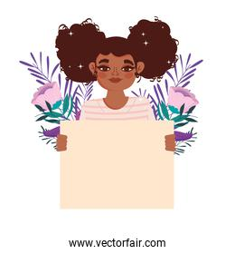 afro american girl curly hair and blank board
