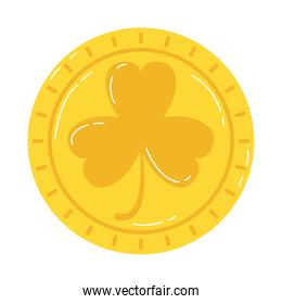 golden coins with clover saint patrick icon