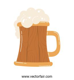 wooden beer jar drink isolated icon