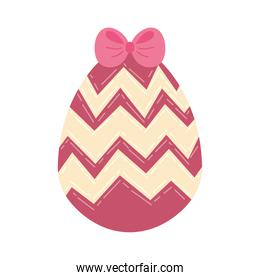 egg painted with bow and stripes happy easter celebration