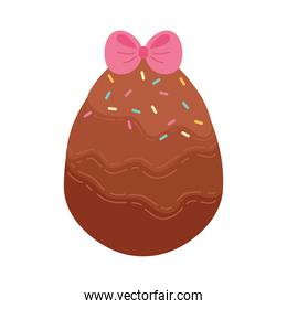 chocolate egg painted with pink ribbon happy easter celebration