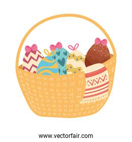 happy easter celebration   with eggs painted in basket
