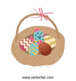 happy easter celebration card with eggs painted in straw basket