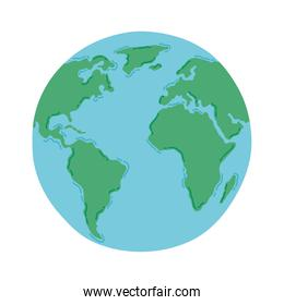 planet earth over white background