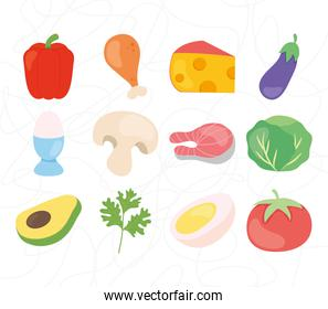 vegetables and healthy food icon set, colorful design