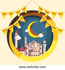 Ramadan mosques with moon and banner pennant vector design