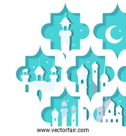 Ramadan mosques and moon in blue frames vector design