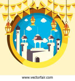 Ramadan mosque with lanterns and banner pennant vector design