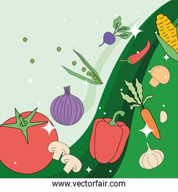 vegetables on green and blue background vector design