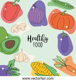 Healthy food with vegetables icon collection vector design