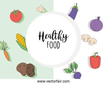 Healthy food with vegetables set vector design
