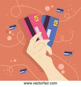 hand holding credit cards vector design