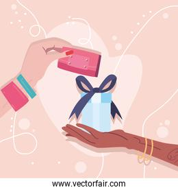hands holding wallet and gift vector design