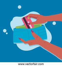 hands holding credit card and wallet vector design
