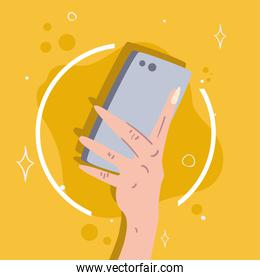 hand holding smartphone icon isolated vector design