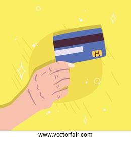 hand holding credit card vector design