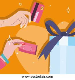 gift and hands holding credit card and wallet vector design
