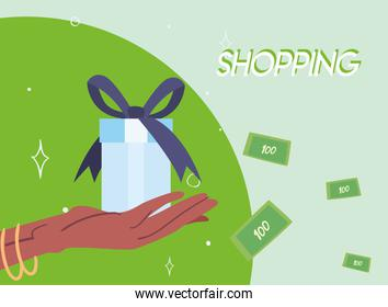 shopping gift on hand and bills vector design
