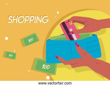 hands holding credit card and wallet with bills vector design