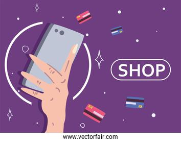hand holding smartphone with credit cards vector design