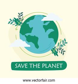 Save the planet word with leaves vector design