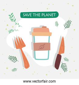 Save the planet cutlery and mug vector design