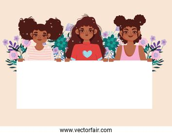 afro american girls cartoon with placard