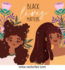 black lives matter, young afro american women characters floral card