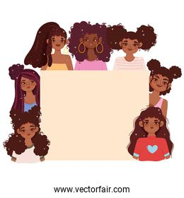 afro american young female characters and empty blank board