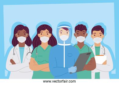 group of interracial doctors staff wearing medical masks