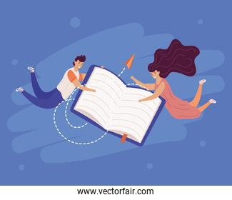 young couple readers with book and paper airplane flying