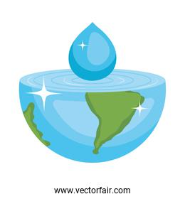 water drop falling on half earth planet, colorful design