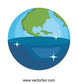 planet with half earth and half water, colorful design