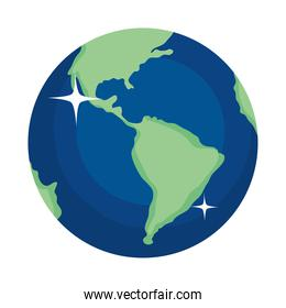 earth planet shining icon, colorful design